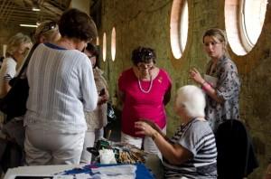 Helen Carolan demonstrates bobbin lacemaking